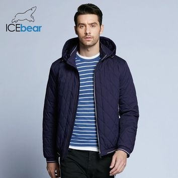 ICEbear 2019 new Spring men's cotton classic quilted design coats hat detachable fashion man jacket BMWC18032D