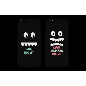 Mr. Right & Mrs. Always Right Matching Couple Black Phonecases (Set)