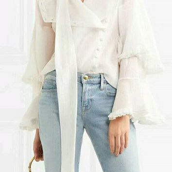 Right Hand Girl White Chiffon Long Flare Sleeve Tiered Ruffle Button Tie Neck Blouse Top