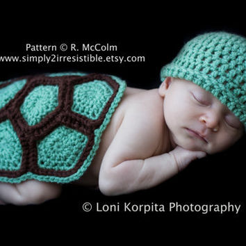 Turtle Shell and Beanie - Crochet Pattern Set 103 - us or uk Terms - Newborn to 6 Months - INSTANT DOWNLOAD