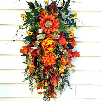 Fall sunflower swag, Fall door swags, Sunflower wreath, teardrop swags, peony swag, Autumn swags, vertical swags, farmhouse swag, rustic