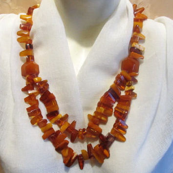 100% Natural #Antique #Baltic #Amber #Necklace, 89.8 grams #brown  polished  opaque beads  for adult