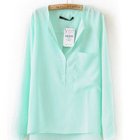 Green V-neck Long Sleeve Blouse With Front Pocket