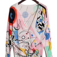 Casual V-Neck Long Sleeve Scrawl Printed Cardigan For Women