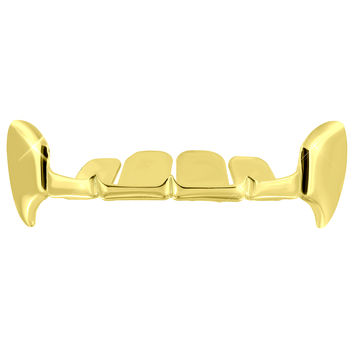 Half Top Teeth Grillz Yellow Gold Finish HIp Hop