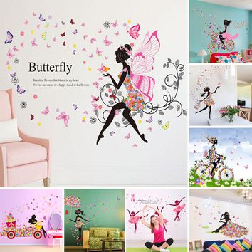 Flower Fairy Girl Wall Stickers Vinyl DIY Butterfly Mural Art Books for Kids Rooms kinderg Books on art en decorations baby gift