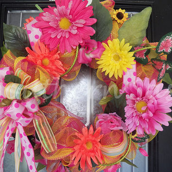 Deluxe Deco Mesh Spring Wreath With Florals Ready To Ship