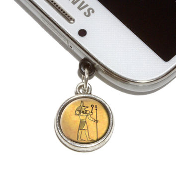 Anubis Ancient Egyptian God Mobile Phone Silver Charm