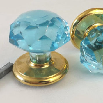 Pair Blue Glass and Brass Door Knobs, Gainsborough Concerto Crystal Knobs, Unused Hardware, Home Improvement, Altered Art Craft Supply