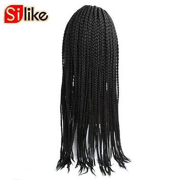 Silike 24'' Box Braids Lace Frontal Wig 350g Synthetic Adjustable Size African American Afro Braiding hair for Black Women 1 PC