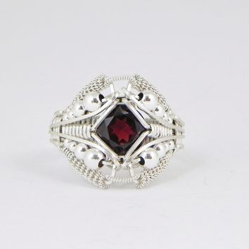 Garnet Ring Sterling Silver Handmade Wire Wrapped Jewelry