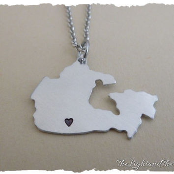 CANADA - Hand Stamped Jewelry - Custom heart location - Gift Idea - Country - Location - Map - World