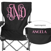 Choose Your Monogram // Beach, Camping, Sports, Folding Chair // Monogram // Solid or Glitter Vinyl