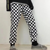 New fashion black and white plaid couples trousers pants