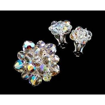 Vintage Aurora Borealis Fire Crystal Brooch + Earrings 1950S
