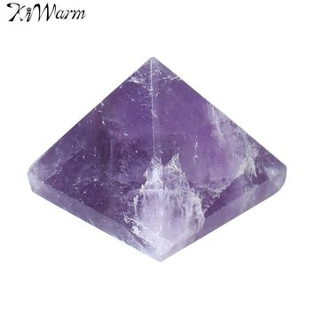 KiWarm 1PC Natural Purple Crystal Amethyst Healing Gemstone Pyramid Ornament Feng Shui Crafts For Home Decoration Gifts 27-30mm