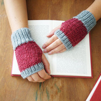 Fingerless gloves in red and grey - hand knit women mittens - hand warmers