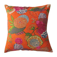 "24"" Oversized Orange Indian Kantha Cotton Throw Pillow Cushion Case"