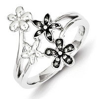 Sterling Silver Diamond Black Rhodium-plated Flowers Ring