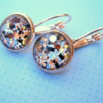 Rose Gold-Tone Pearly Silver and Black Glitter Glass Drop Earrings