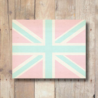 Pink Union Jack print, pink and aqua, British flag printable, printable dorm wall art, pink nursery printable wall art printable download