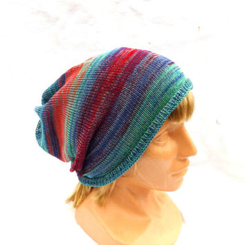 Knitted cotton hat knit multicolor cap  colorful cloche knitting slouche knit blue red green hat hipster beanie ecofriendly head-dress