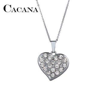 CACANA Drill Crystal Heart Pendant Necklaces Different Rhinestone Show Your Heart Love To The Half Charms Jewelry For Women
