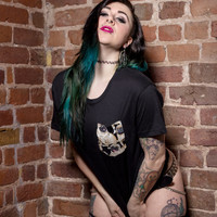 real stitched adorable pug dog print pocket t-shirt hipster indie swag dope hype black white men woman cute