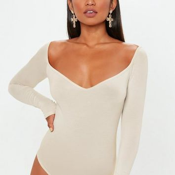 Missguided - Sand Sweetheart Neck Bodysuit