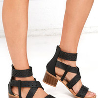Favorite Constellation Black Cutout Heeled Sandals