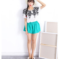 White Embroidered Short Sleeve Top with Light Blue Shorts Set