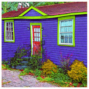 Colorful Whimsical Funky House - New Orleans Bywater Purple and Green Cottage, Red Door 10x10 16x16 - The LIttle House That Did - Korpita