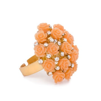 Bouquet of Roses Ring in Peach