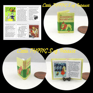The Wonderful Wizard of Oz Miniature Book Dollhouse 1:12 scale Readable Illustrated Book