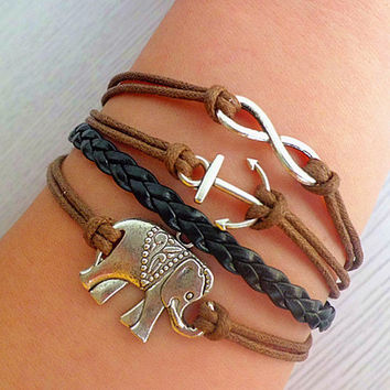 Lovers bracelet, one of the best selling items of bracelets, elephant, infinity bracelet, anchor bracelet
