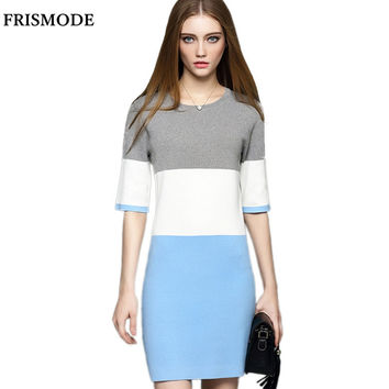 2016 Autumn Winter High quality O-neck Half Sleeve Office Lady Elegant Knitted Dress ukraine Women Sexy Bandage Dress vestidos