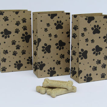 Kraft Brown Dog Treat Bag- Brown Paper Bags-Bone Treat Bags-Dog Gift Bag-Paw Print Favor Bag-Dog Birthday Party-Dog Adoption- Set of 10