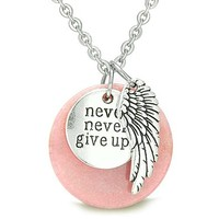 "Angel Wing and Inspirational ""Never Never Give Up"" Amulet Candy Pink Quartz Pendant 18 Inch Necklace"
