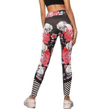 Leggings Women Fitness Clothing Skull Printed Pants Workout Ladies Clothes