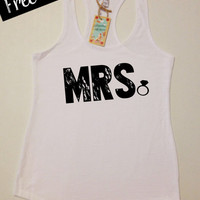 Mrs. Tank Top. Bride Tank Top. Women's Clothing. Wedding Top. Terry Racerback Tank Top. Workout Tank Top. Fitness Tank. Free Shipping USA