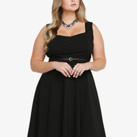 Chevron-Front Belted Swing Dress