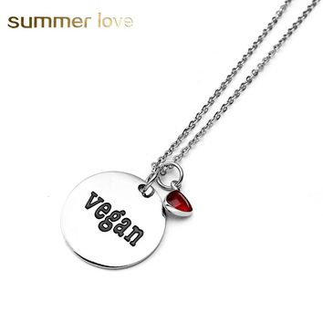 Stainless Steel Chain necklace Round Lettering Vegan Crystal Pendant Necklace For Women fashion Jewelry Charm Collier Gift 2017