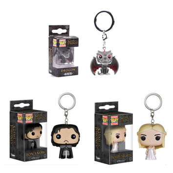 Funko Pop Game of Thrones Funko Figures Daenerys Targa Jon Snow Chaveiro Game of Thrones Keychain Keyring Key Holder Pop Toys