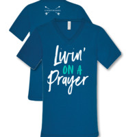 Southern Couture Lightheart Livin on a Prayer V-Neck Triblend Front Print T-Shirt