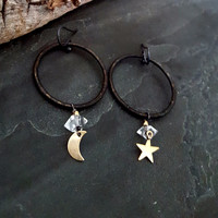Rustic Mixed Metal Black Hoop Gold Moon and Star Herkimer Diamond Earrings