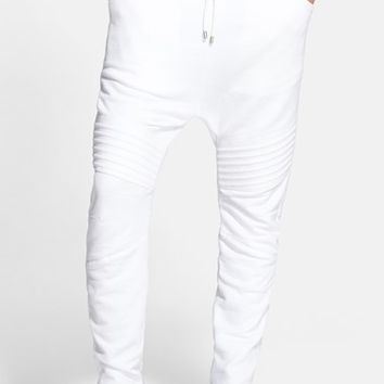 Men's Pierre Balmain Drop Crotch Moto Sweatpants,