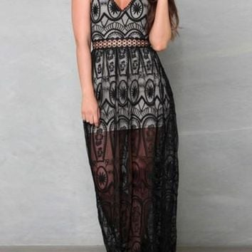 Black Patchwork Backless Hollow-out Lace Double-deck V-neck Maxi Dress
