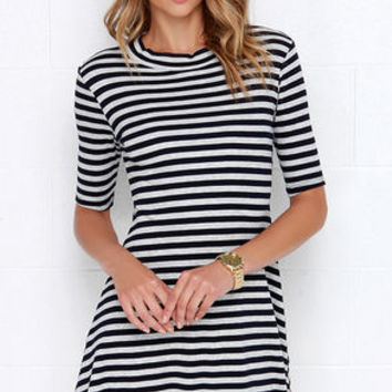 Compliment Catcher Grey and Navy Blue Striped Dress