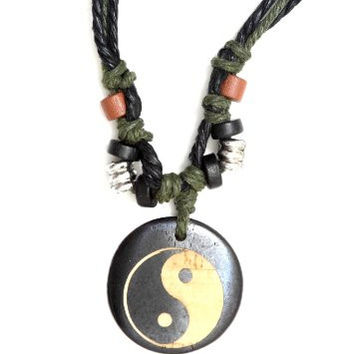 Yin Yang Necklace Beaded Rope Cord Statement Pendant NJ26 Fashion Jewelry