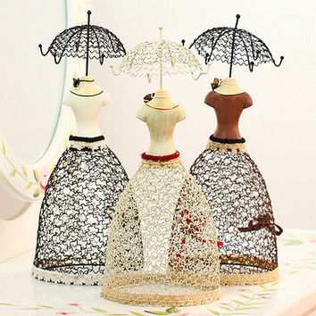 Lady Mannequin Jewelry Display Stand Holder Hanger Organizer Showcase MetalRack2